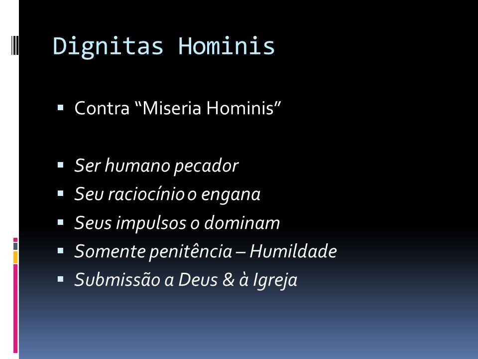 Dignitas Hominis Contra Miseria Hominis Ser humano pecador Seu raciocínio o engana Seus impulsos o dominam Somente penitência – Humildade Submissão a