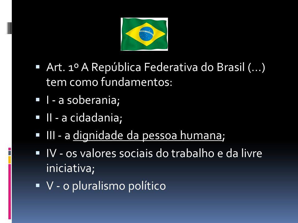 Art. 1º A República Federativa do Brasil (...) tem como fundamentos: I - a soberania; II - a cidadania; III - a dignidade da pessoa humana; IV - os va