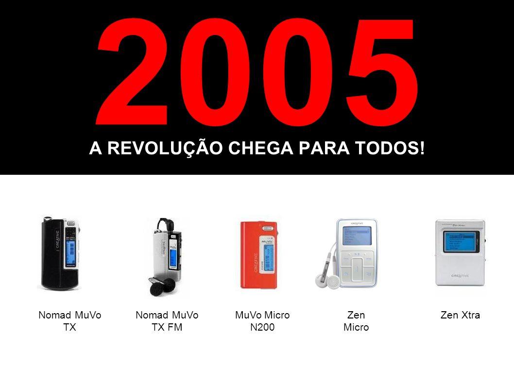 2005 A REVOLUÇÃO CHEGA PARA TODOS! Nomad MuVo TX Nomad MuVo TX FM Zen Micro Zen XtraMuVo Micro N200
