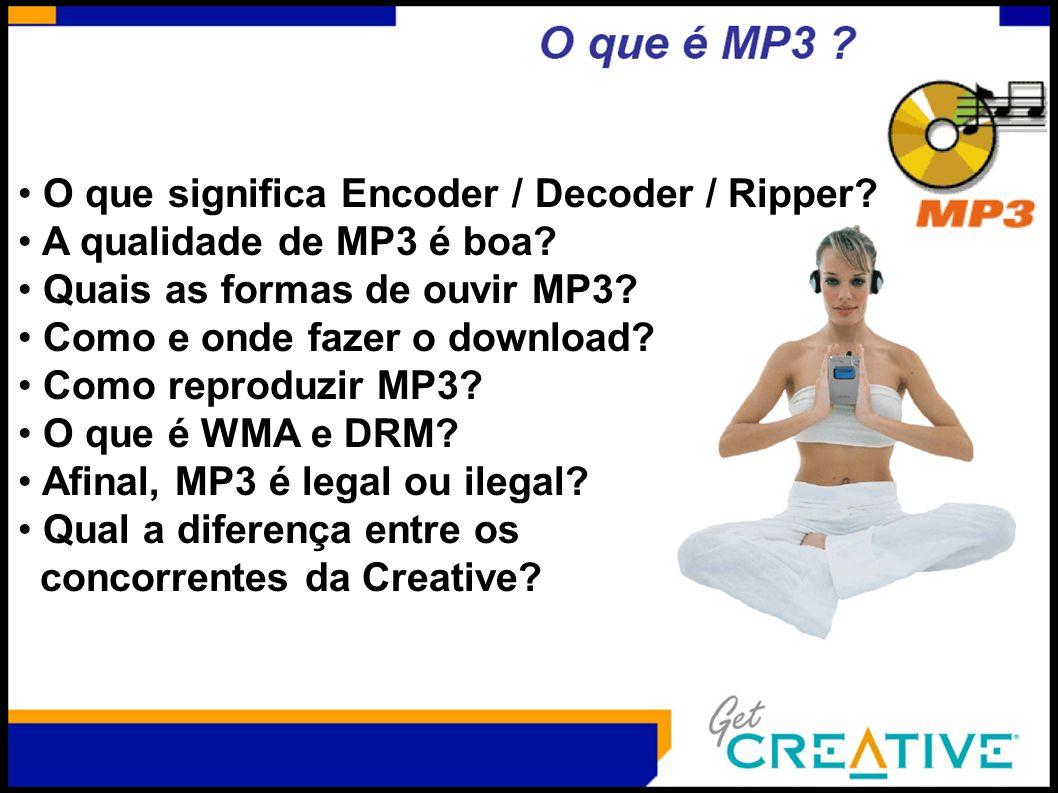 O que significa Encoder / Decoder / Ripper? A qualidade de MP3 é boa? Quais as formas de ouvir MP3? Como e onde fazer o download? Como reproduzir MP3?