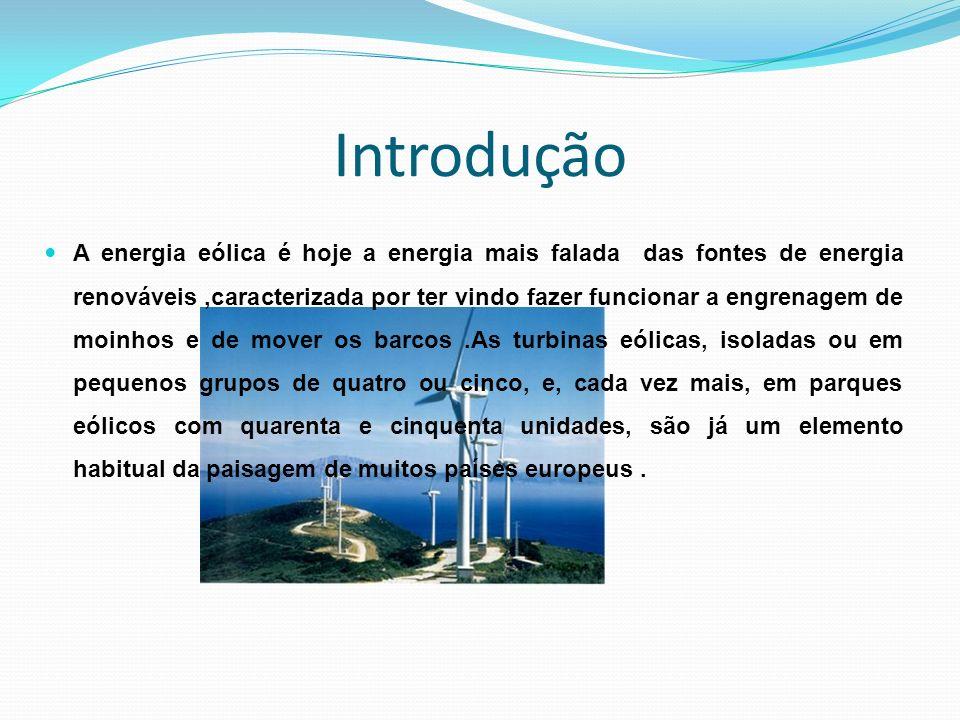 Introdução A energia eólica é hoje a energia mais falada das fontes de energia renováveis,caracterizada por ter vindo fazer funcionar a engrenagem de