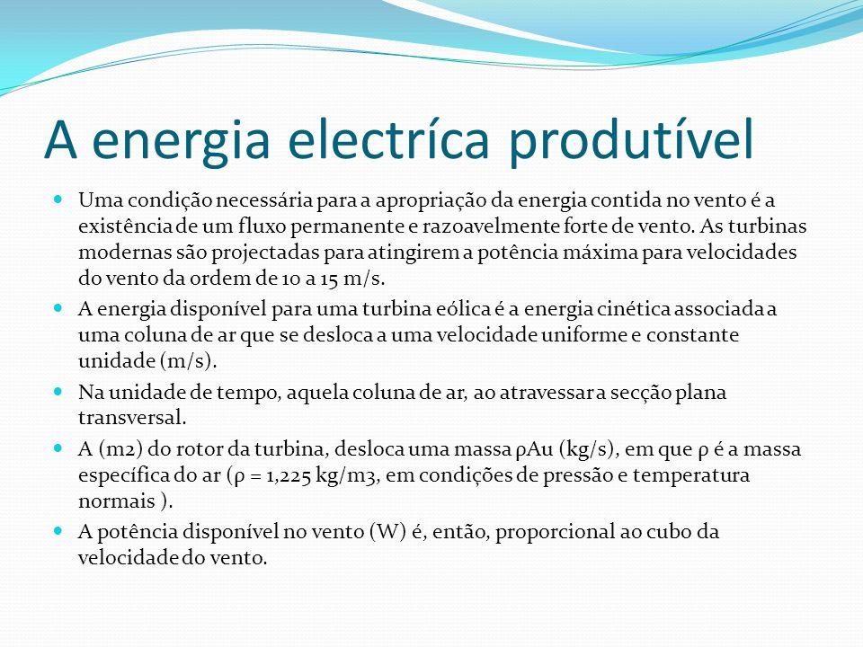 A energia electríca produtível Uma condição necessária para a apropriação da energia contida no vento é a existência de um fluxo permanente e razoavel