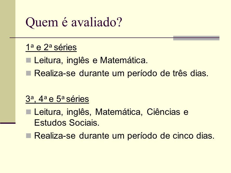 Quem é avaliado.1 a e 2 a séries Leitura, inglês e Matemática.