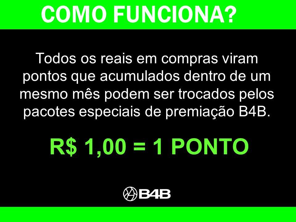 Todo R$ 1,00 em compras na B4B vale 1 ponto, que acumulados dentro de um mesmo mês podem ser trocados por pacotes de prêmios REPLAY.