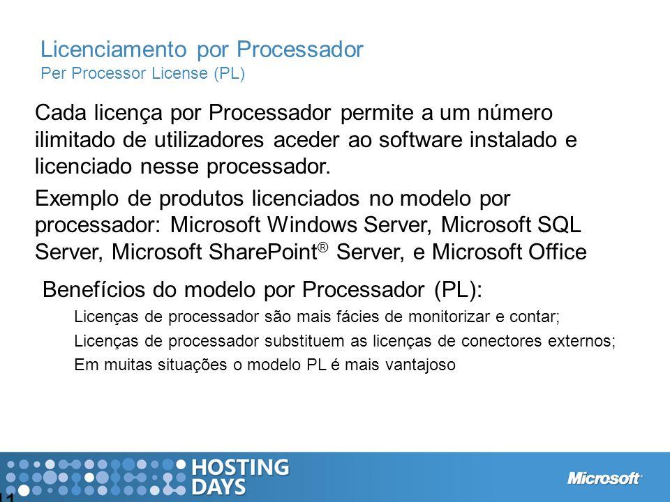 11 Cada licença por Processador permite a um número ilimitado de utilizadores aceder ao software instalado e licenciado nesse processador. Exemplo de