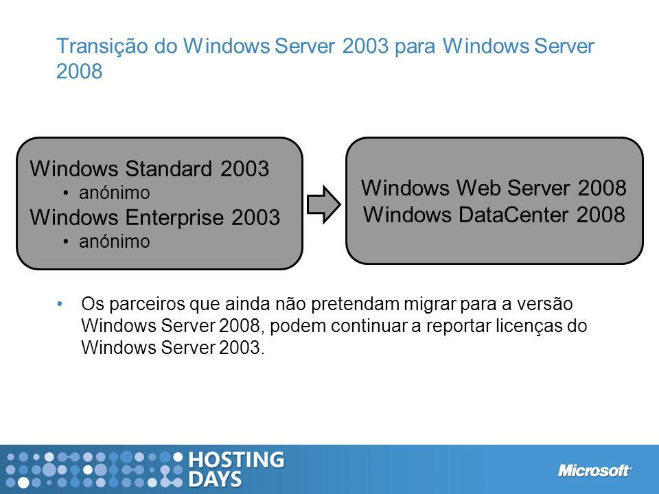 Transição do Windows Server 2003 para Windows Server 2008 Os parceiros que ainda não pretendam migrar para a versão Windows Server 2008, podem continu