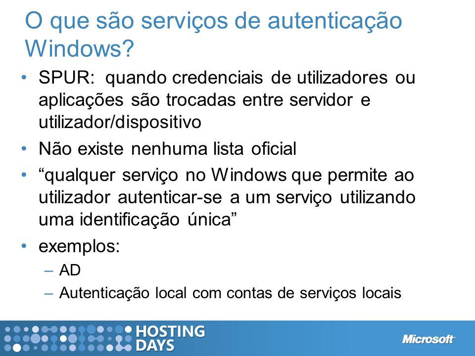O que são serviços de autenticação Windows? SPUR: quando credenciais de utilizadores ou aplicações são trocadas entre servidor e utilizador/dispositiv