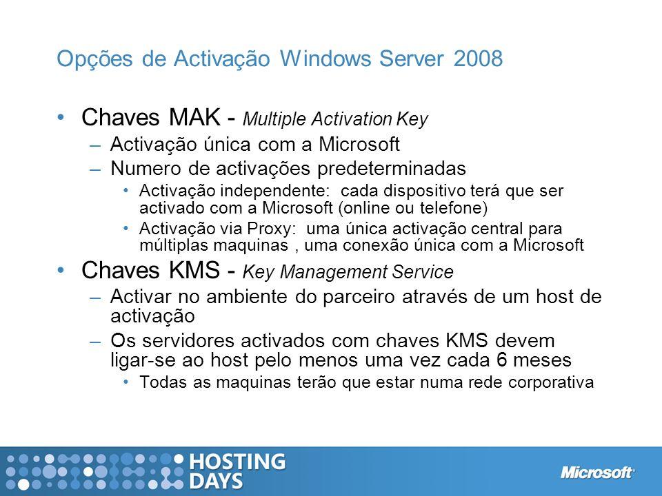 Opções de Activação Windows Server 2008 Chaves MAK - Multiple Activation Key –Activação única com a Microsoft –Numero de activações predeterminadas Ac