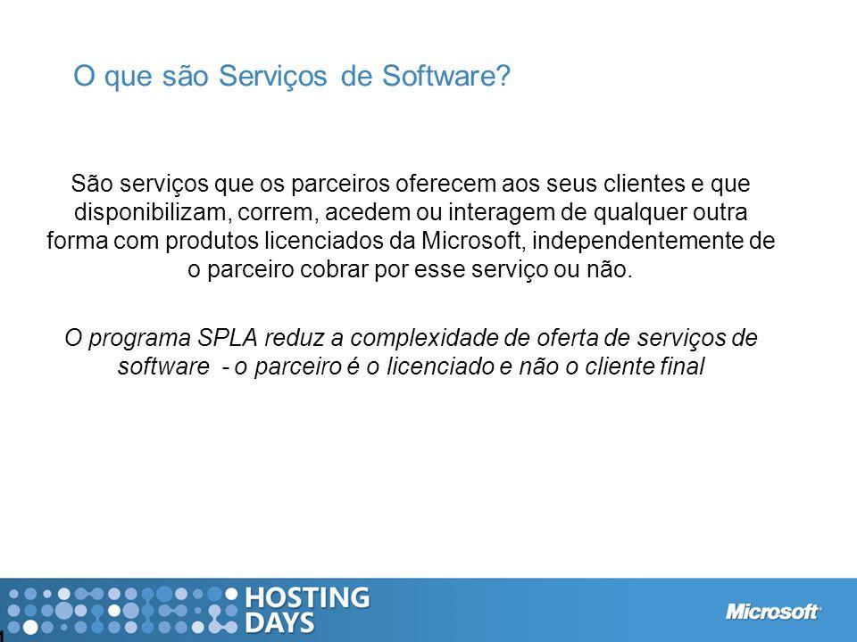 O que são Serviços de Software? 4 São serviços que os parceiros oferecem aos seus clientes e que disponibilizam, correm, acedem ou interagem de qualqu