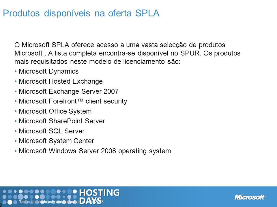 8 Produtos disponíveis na oferta SPLA *List is a sample only and current as of June 2007 O Microsoft SPLA oferece acesso a uma vasta selecção de produ