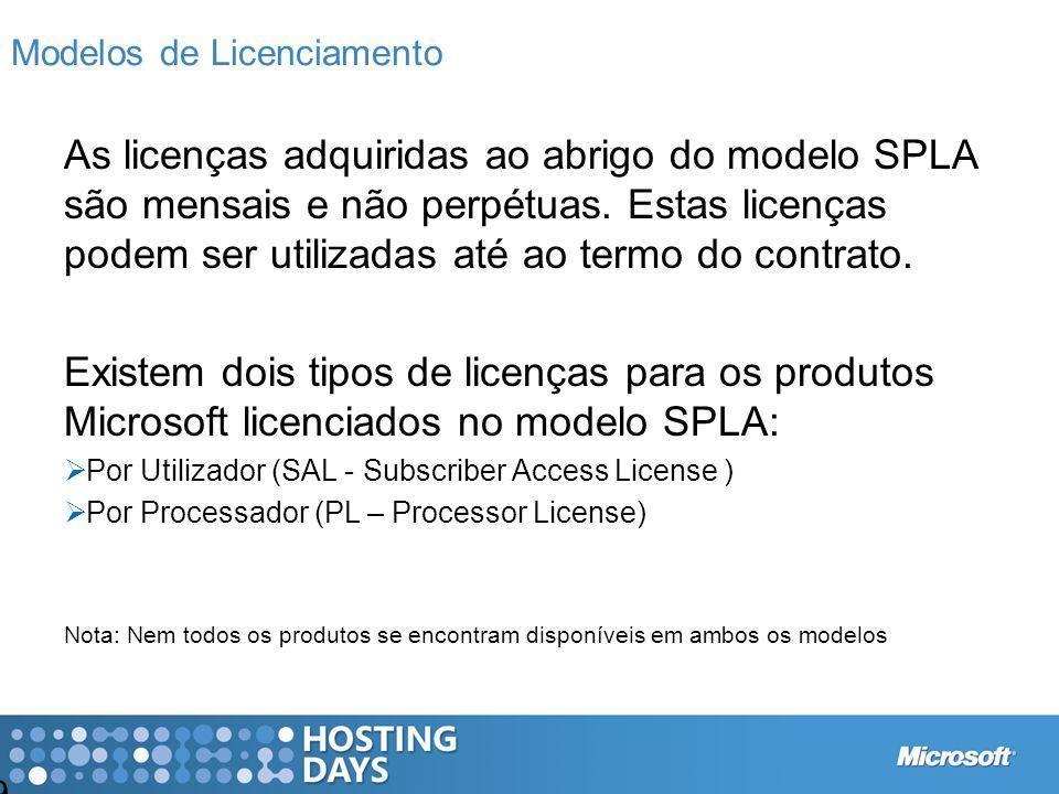 9 Modelos de Licenciamento As licenças adquiridas ao abrigo do modelo SPLA são mensais e não perpétuas. Estas licenças podem ser utilizadas até ao ter
