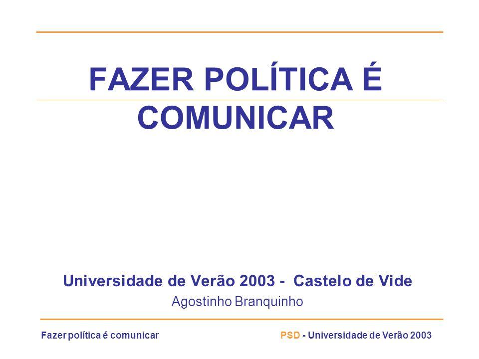 Fazer política é comunicarPSD - Universidade de Verão 2003 Um Plano de MKT Eleitoral A política de comunicação: » O cidadão, na maior parte dos casos, não vislumbra facilmente os benefícios tangíveis, directos e de curto termo em relação ao resultado de uma eleição SIMPLIFICAÇÃO DAS MENSAGENS, Sempre » SIMPLIFICAÇÃO DAS MENSAGENS, Sempre