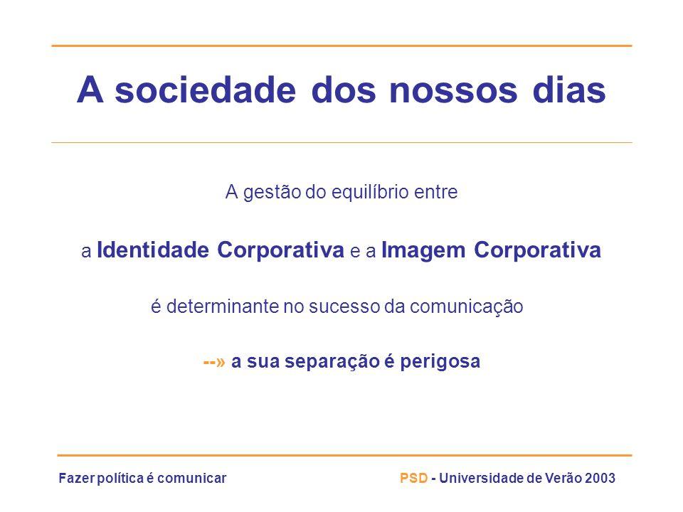 Fazer política é comunicarPSD - Universidade de Verão 2003 A sociedade dos nossos dias A gestão do equilíbrio entre a Identidade Corporativa e a Image