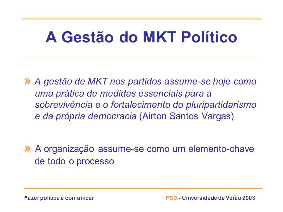 Fazer política é comunicarPSD - Universidade de Verão 2003 A Gestão do MKT Político » A gestão de MKT nos partidos assume-se hoje como uma prática de