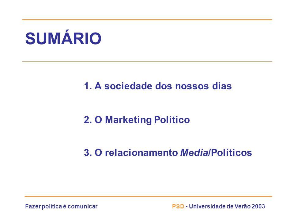 Fazer política é comunicarPSD - Universidade de Verão 2003 O Marketing Político actividade permanente » É a actividade permanente desenvolvida pelos partidos políticos e organizações políticas para conseguir os seus objectivos (SANTESMASES, 1992)