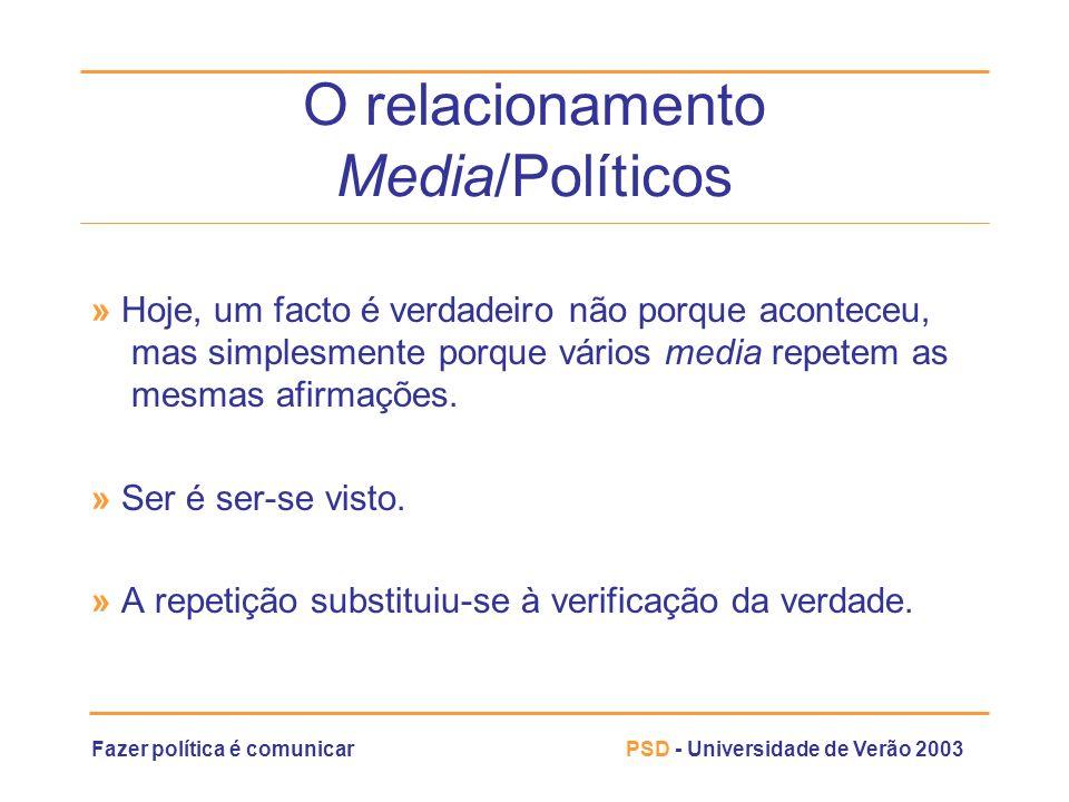 Fazer política é comunicarPSD - Universidade de Verão 2003 O relacionamento Media/Políticos » Hoje, um facto é verdadeiro não porque aconteceu, mas si