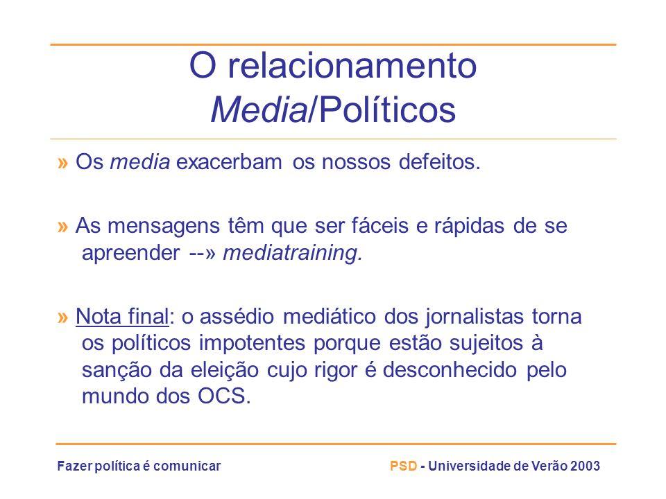 Fazer política é comunicarPSD - Universidade de Verão 2003 O relacionamento Media/Políticos » Os media exacerbam os nossos defeitos. » As mensagens tê