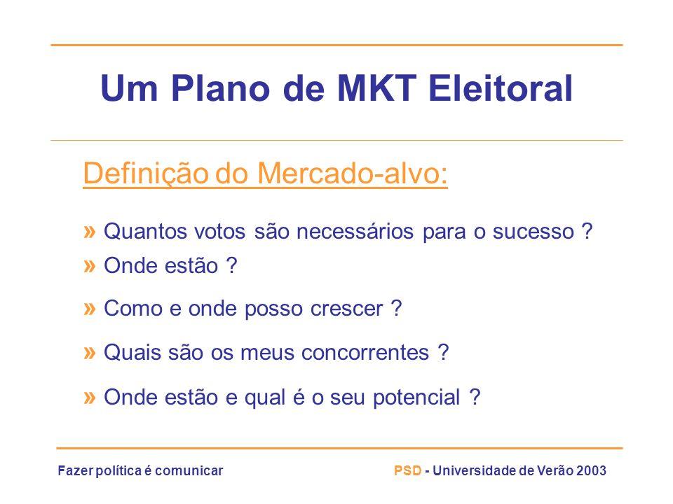 Fazer política é comunicarPSD - Universidade de Verão 2003 Um Plano de MKT Eleitoral Definição do Mercado-alvo: » Quantos votos são necessários para o