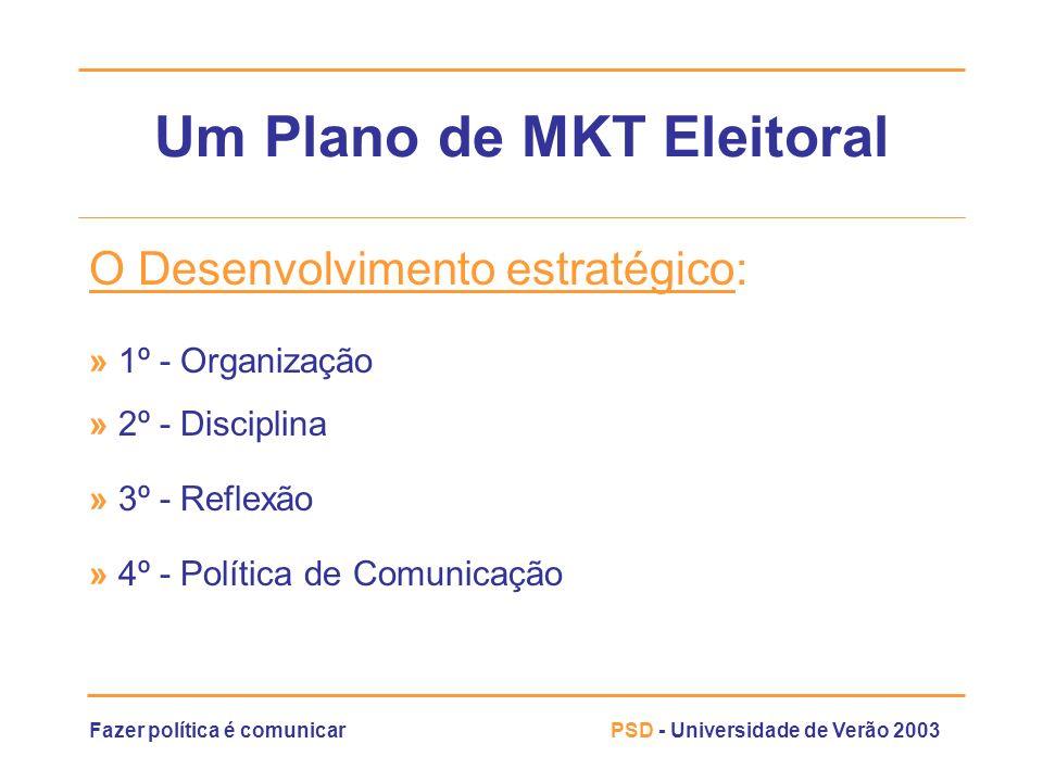 Fazer política é comunicarPSD - Universidade de Verão 2003 Um Plano de MKT Eleitoral O Desenvolvimento estratégico: » 1º - Organização » 2º - Discipli