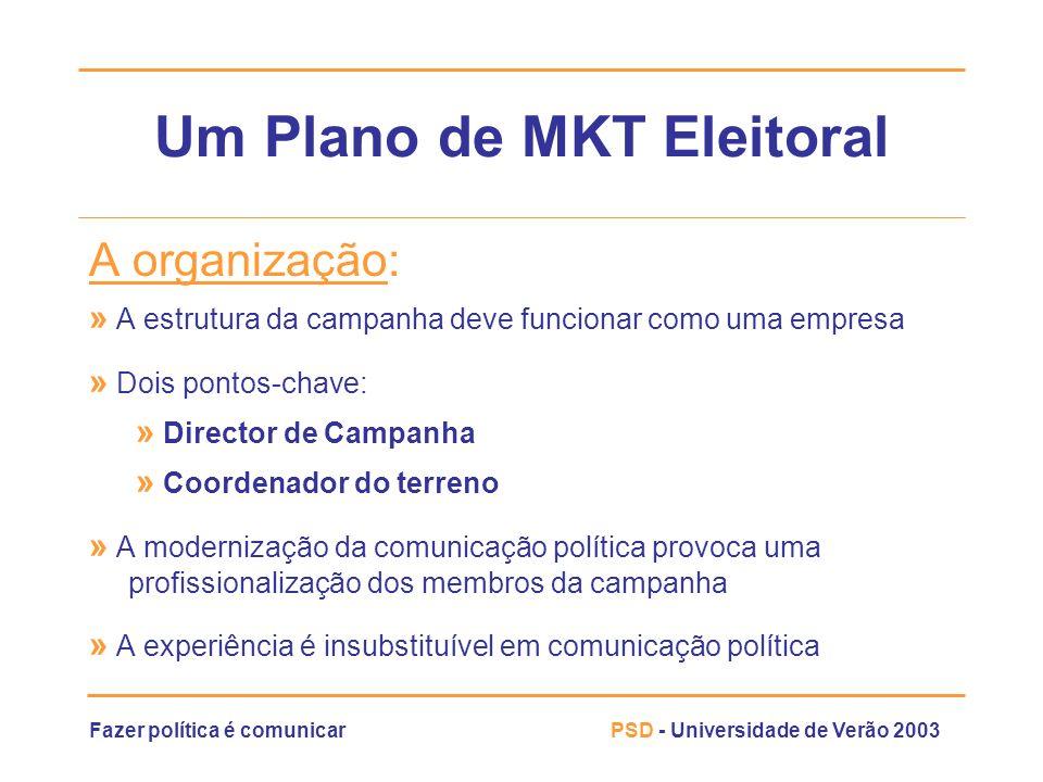 Fazer política é comunicarPSD - Universidade de Verão 2003 Um Plano de MKT Eleitoral A organização: » A estrutura da campanha deve funcionar como uma