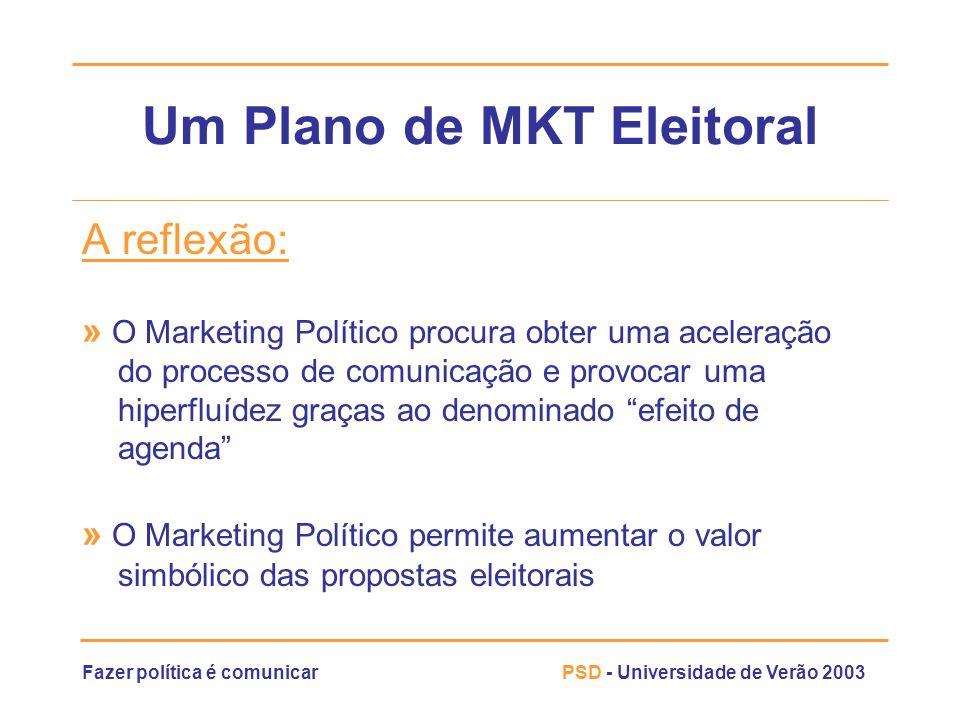 Fazer política é comunicarPSD - Universidade de Verão 2003 Um Plano de MKT Eleitoral A reflexão: » O Marketing Político procura obter uma aceleração d