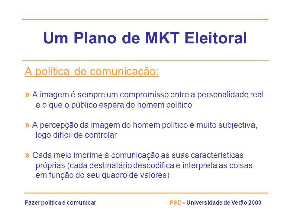 Fazer política é comunicarPSD - Universidade de Verão 2003 Um Plano de MKT Eleitoral A política de comunicação: » A imagem é sempre um compromisso ent