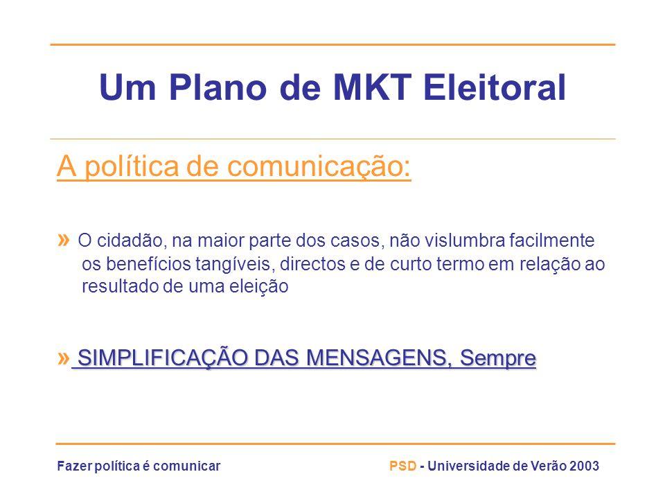 Fazer política é comunicarPSD - Universidade de Verão 2003 Um Plano de MKT Eleitoral A política de comunicação: » O cidadão, na maior parte dos casos,