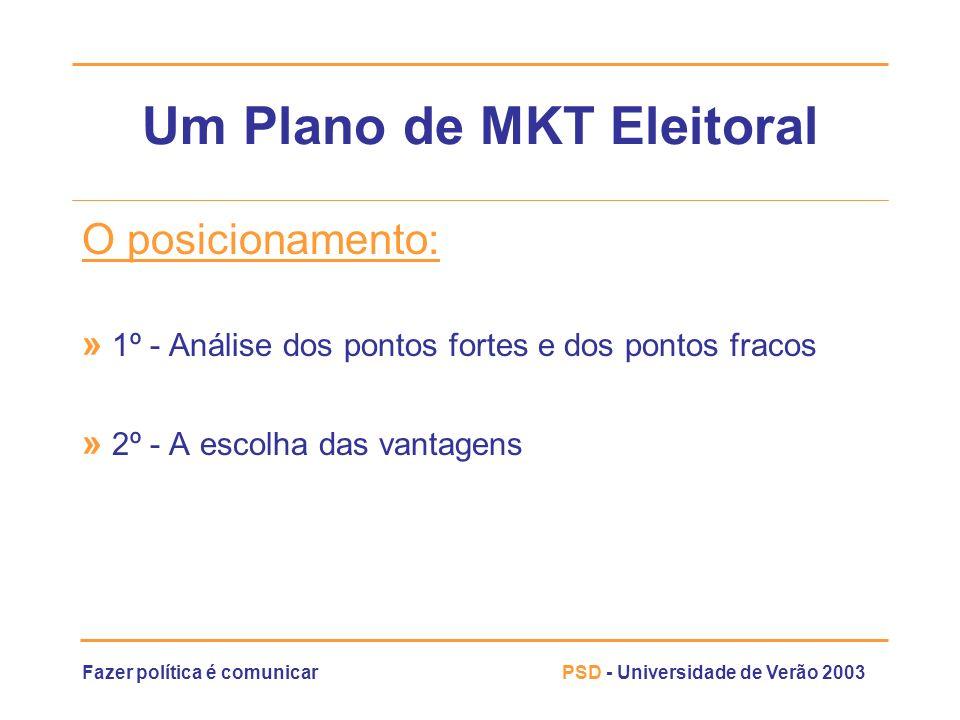 Fazer política é comunicarPSD - Universidade de Verão 2003 Um Plano de MKT Eleitoral O posicionamento: » 1º - Análise dos pontos fortes e dos pontos f
