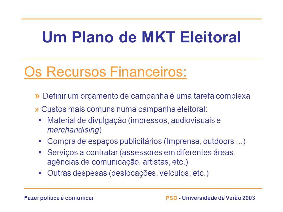 Fazer política é comunicarPSD - Universidade de Verão 2003 Um Plano de MKT Eleitoral Os Recursos Financeiros: » Definir um orçamento de campanha é uma