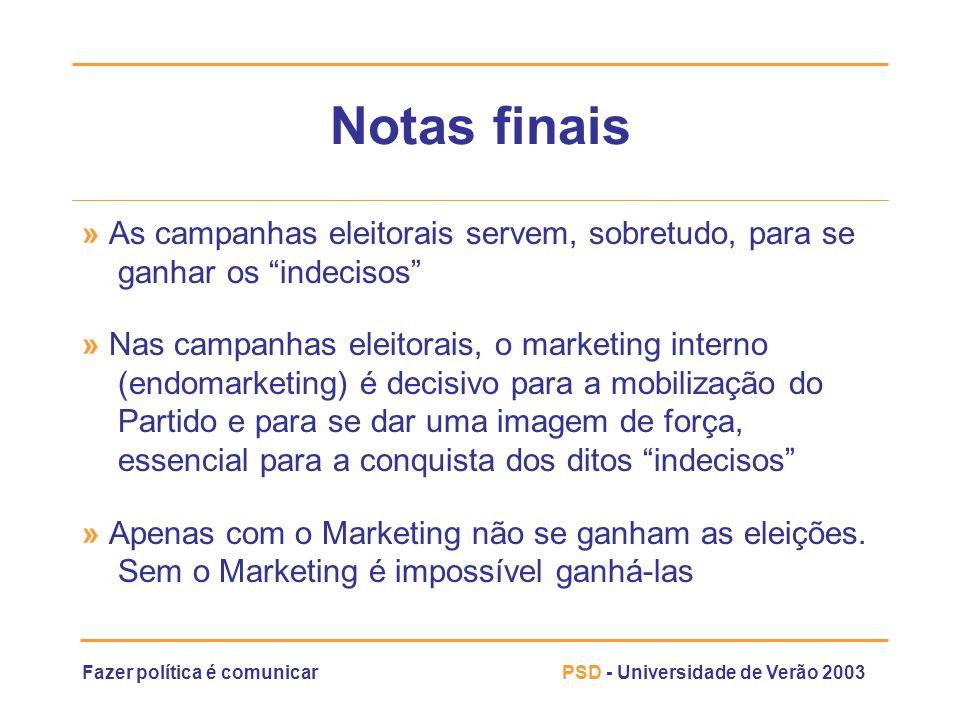 Fazer política é comunicarPSD - Universidade de Verão 2003 Notas finais » As campanhas eleitorais servem, sobretudo, para se ganhar os indecisos » Nas