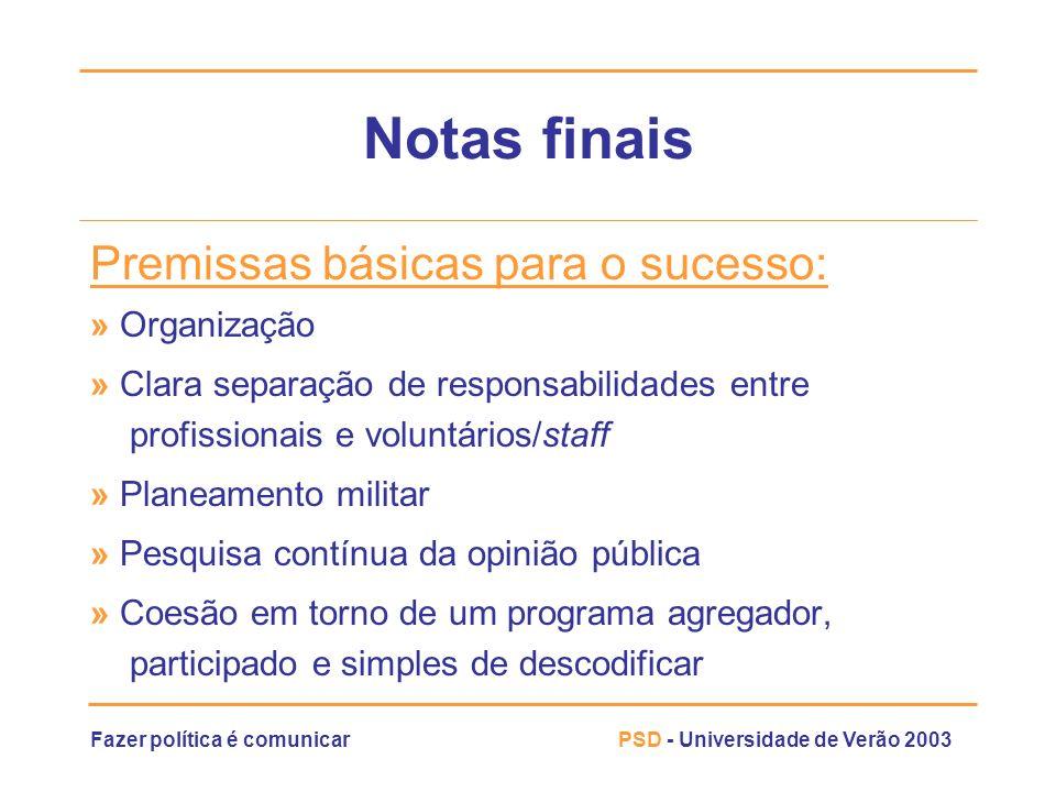 Fazer política é comunicarPSD - Universidade de Verão 2003 Notas finais Premissas básicas para o sucesso: » Organização » Clara separação de responsab