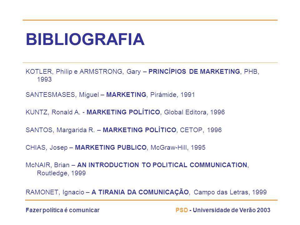 Fazer política é comunicarPSD - Universidade de Verão 2003 BIBLIOGRAFIA KOTLER, Philip e ARMSTRONG, Gary – PRINCÍPIOS DE MARKETING, PHB, 1993 SANTESMA
