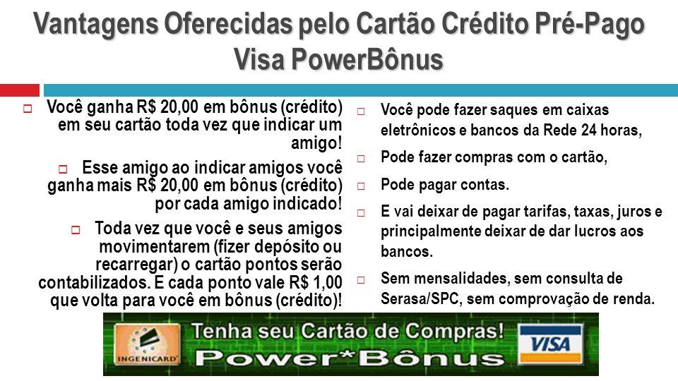 Vantagens Oferecidas pelo Cartão Crédito Pré-Pago Visa PowerBônus Você pode fazer saques em caixas eletrônicos e bancos da Rede 24 horas, Pode fazer c