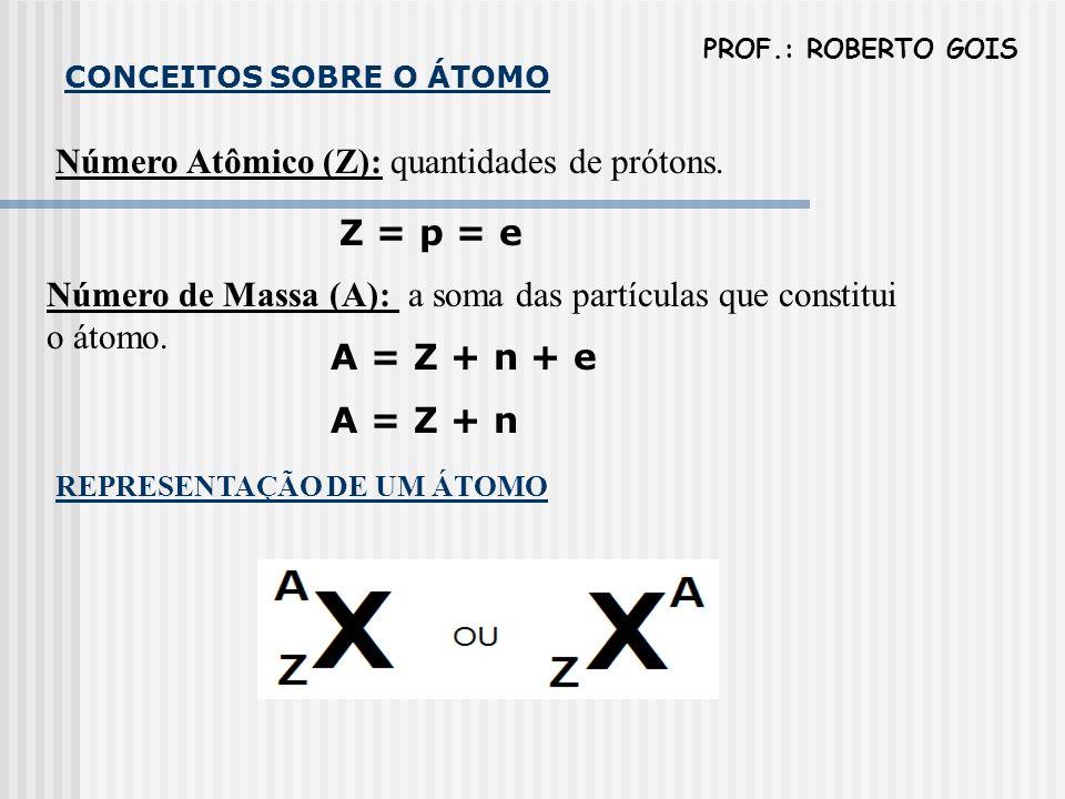 CONCEITOS SOBRE O ÁTOMO Número Atômico (Z): quantidades de prótons. Z = p = e Número de Massa (A): a soma das partículas que constitui o átomo. A = Z