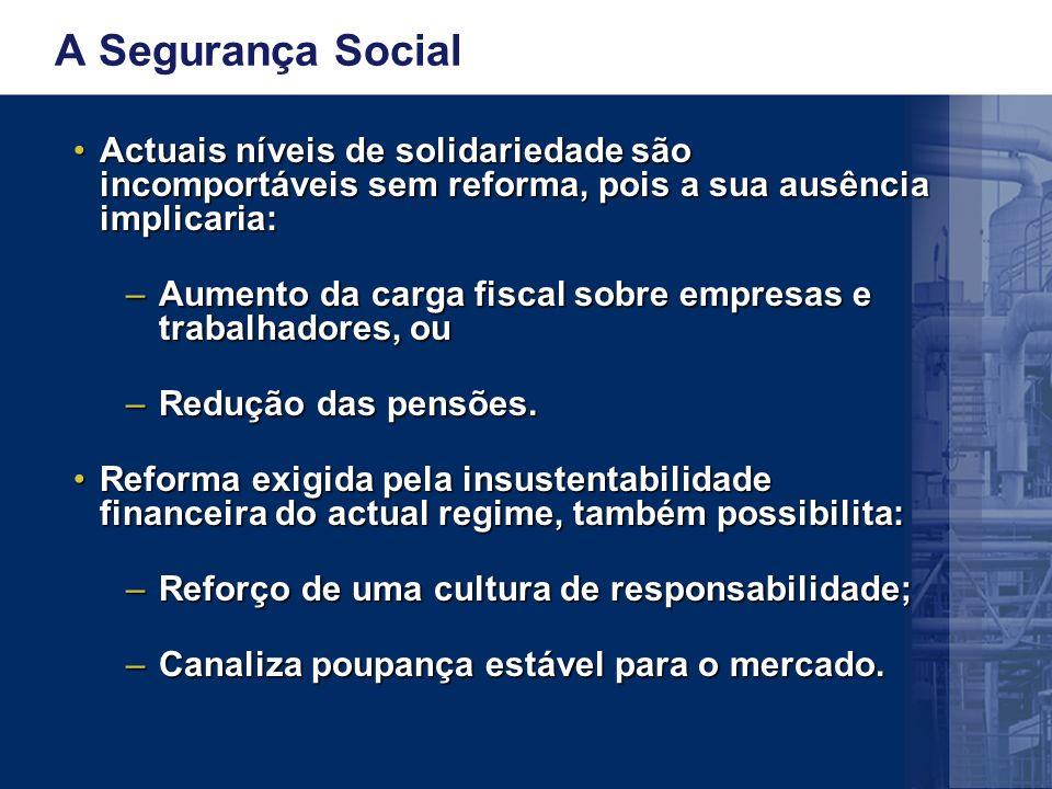 A Segurança Social Actuais níveis de solidariedade são incomportáveis sem reforma, pois a sua ausência implicaria:Actuais níveis de solidariedade são incomportáveis sem reforma, pois a sua ausência implicaria: –Aumento da carga fiscal sobre empresas e trabalhadores, ou –Redução das pensões.