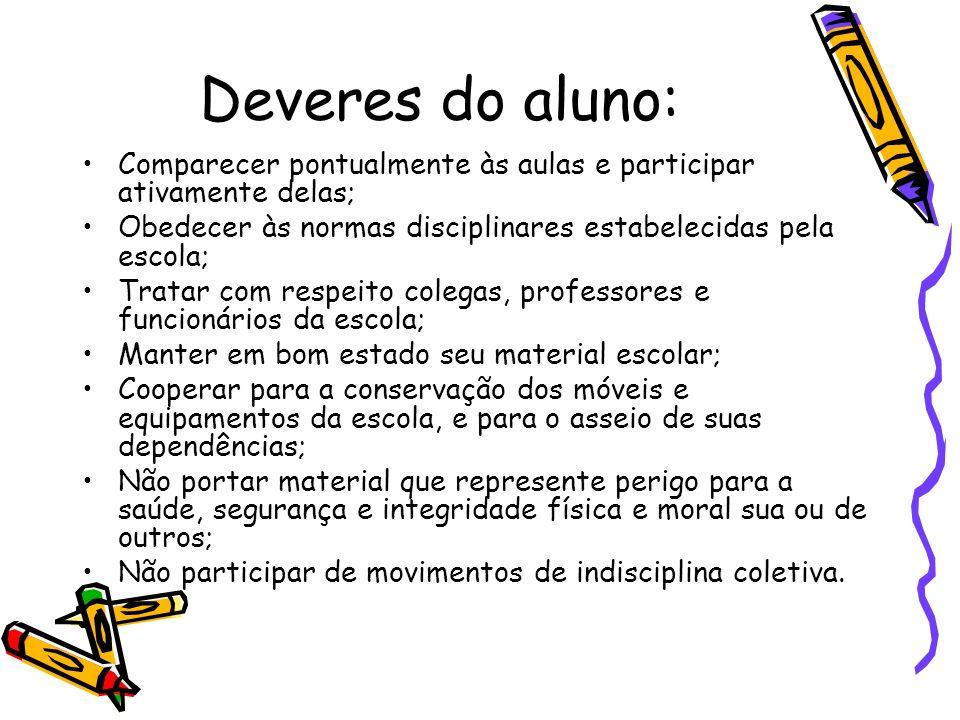 Deveres do aluno: Comparecer pontualmente às aulas e participar ativamente delas; Obedecer às normas disciplinares estabelecidas pela escola; Tratar c