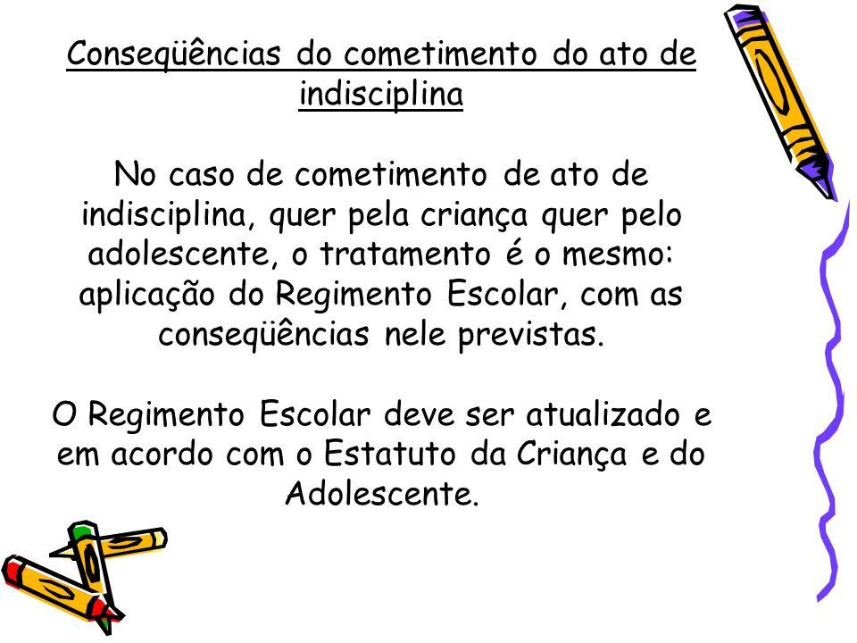 Conseqüências do cometimento do ato de indisciplina No caso de cometimento de ato de indisciplina, quer pela criança quer pelo adolescente, o tratamen