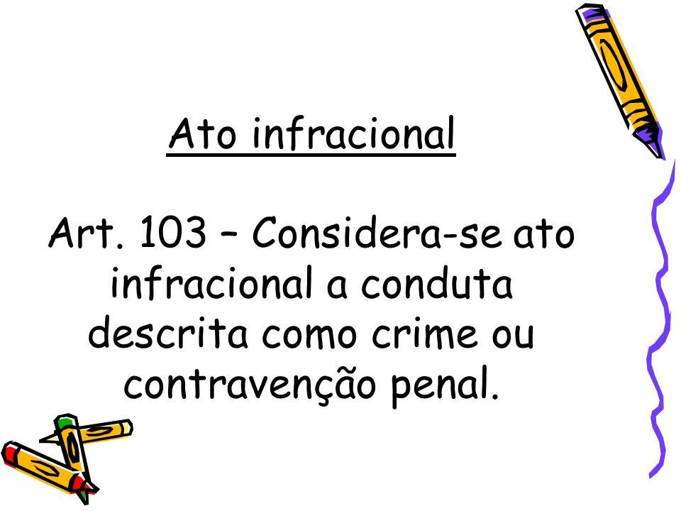 Ato infracional Art. 103 – Considera-se ato infracional a conduta descrita como crime ou contravenção penal.