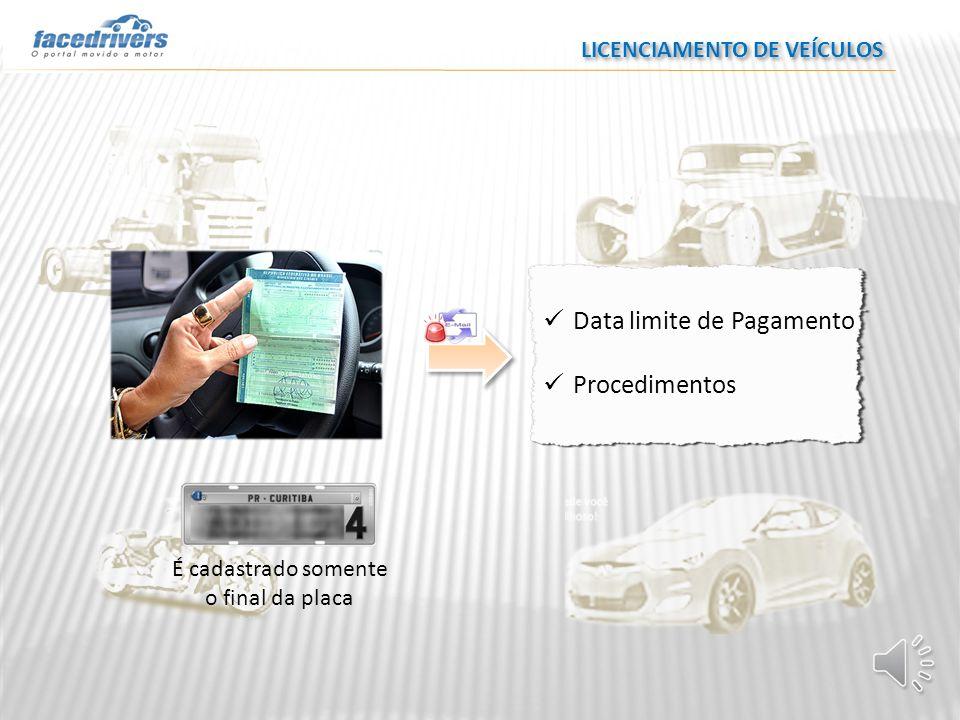 Data limite de Pagamento Procedimentos É cadastrado somente o final da placa LICENCIAMENTO DE VEÍCULOS