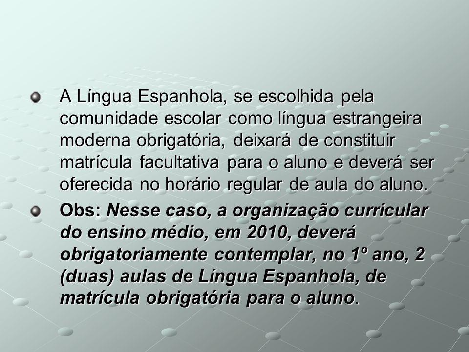A Língua Espanhola, se escolhida pela comunidade escolar como língua estrangeira moderna obrigatória, deixará de constituir matrícula facultativa para