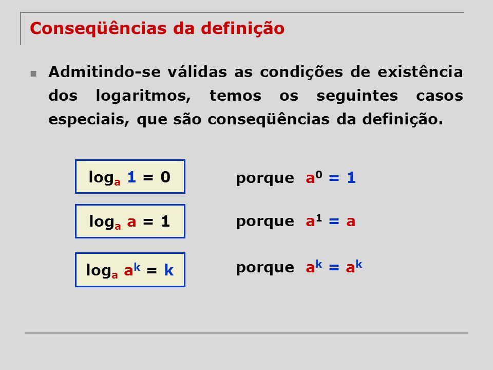 Admitindo-se válidas as condições de existência dos logaritmos, temos os seguintes casos especiais, que são conseqüências da definição. log a 1 = 0 lo