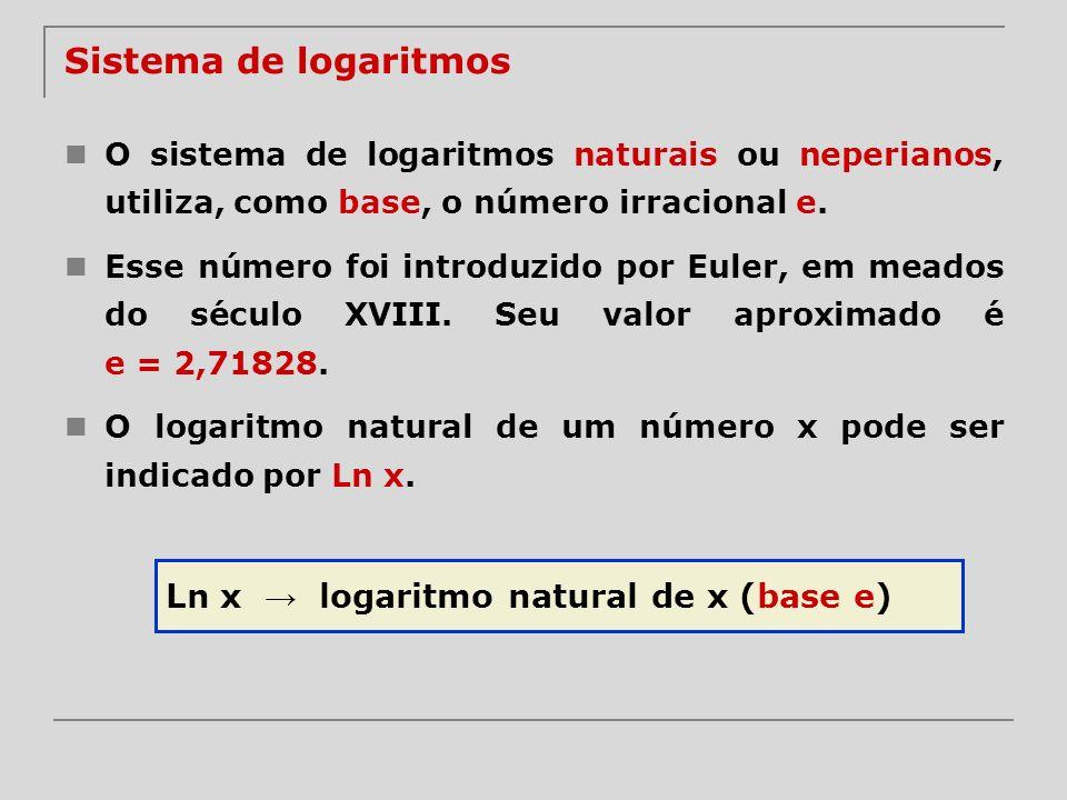 Sistema de logaritmos O sistema de logaritmos naturais ou neperianos, utiliza, como base, o número irracional e. Esse número foi introduzido por Euler