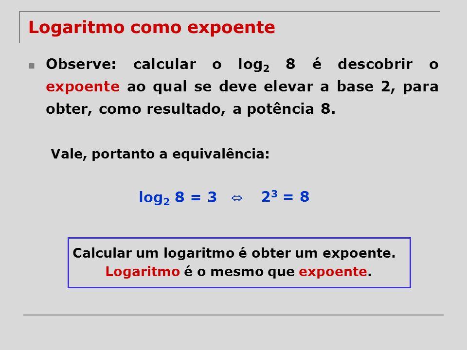 Exemplos log 3 3 = log 10 10 = log 3,7 3,7 = 1 log 3 1 = log 10 1 = log 3,7 1 = 0 log 3 3 9 = 9 log 10 10 –3 = –3