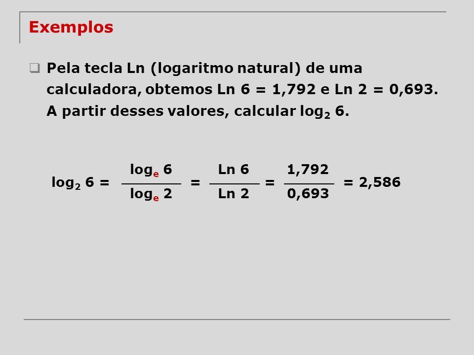 Exemplos Pela tecla Ln (logaritmo natural) de uma calculadora, obtemos Ln 6 = 1,792 e Ln 2 = 0,693. A partir desses valores, calcular log 2 6. log e 6