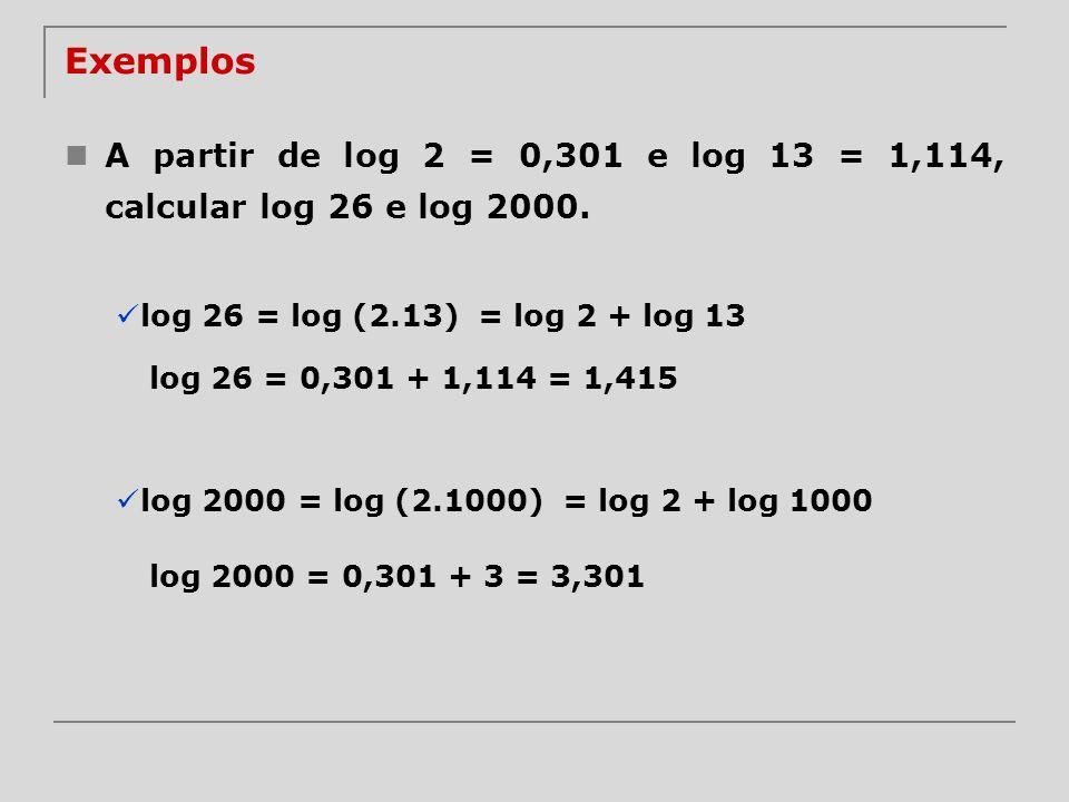 Exemplos A partir de log 2 = 0,301 e log 13 = 1,114, calcular log 26 e log 2000. log 26 = log (2.13)= log 2 + log 13 log 26 = 0,301 + 1,114 = 1,415 lo