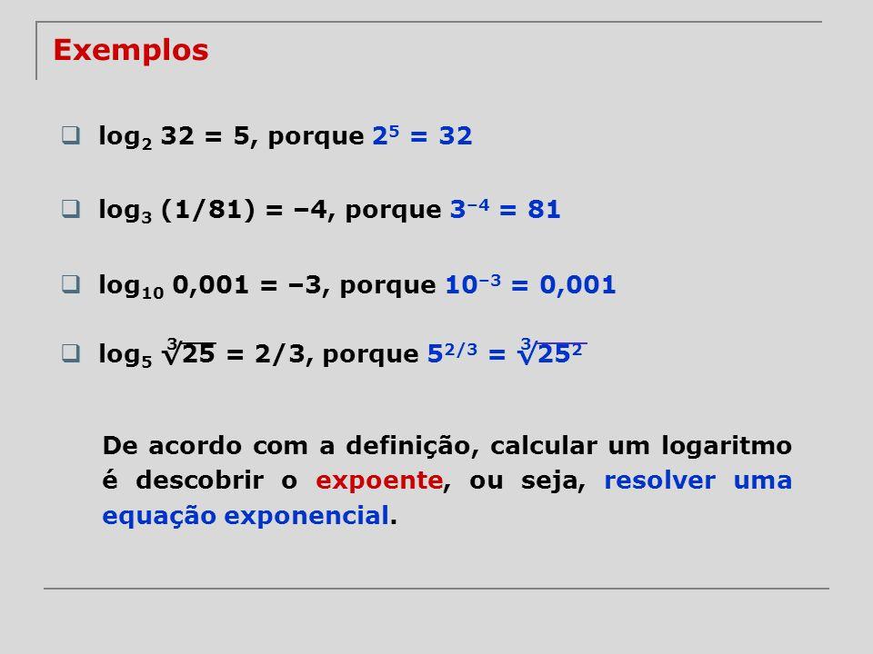 log 5 25 = 2/3, porque 5 2/3 = 25 2 Exemplos log 2 32 = 5, porque 2 5 = 32 log 3 (1/81) = –4, porque 3 –4 = 81 log 10 0,001 = –3, porque 10 –3 = 0,001
