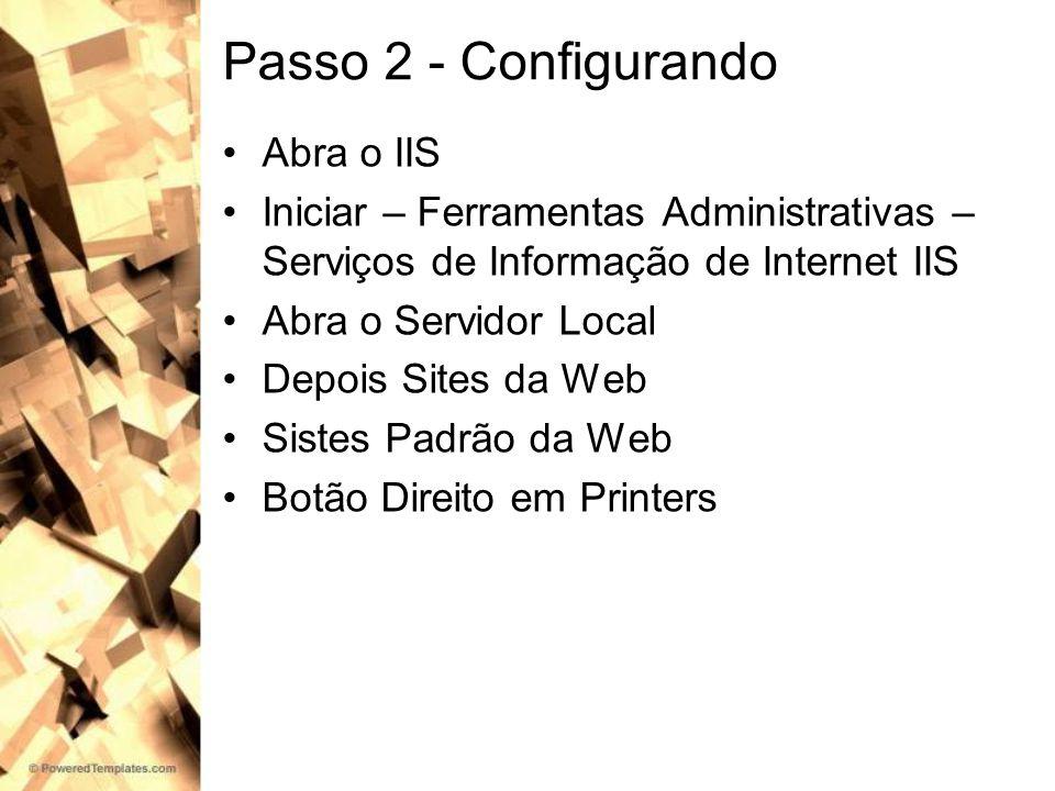 Passo 2 - Configurando Abra o IIS Iniciar – Ferramentas Administrativas – Serviços de Informação de Internet IIS Abra o Servidor Local Depois Sites da