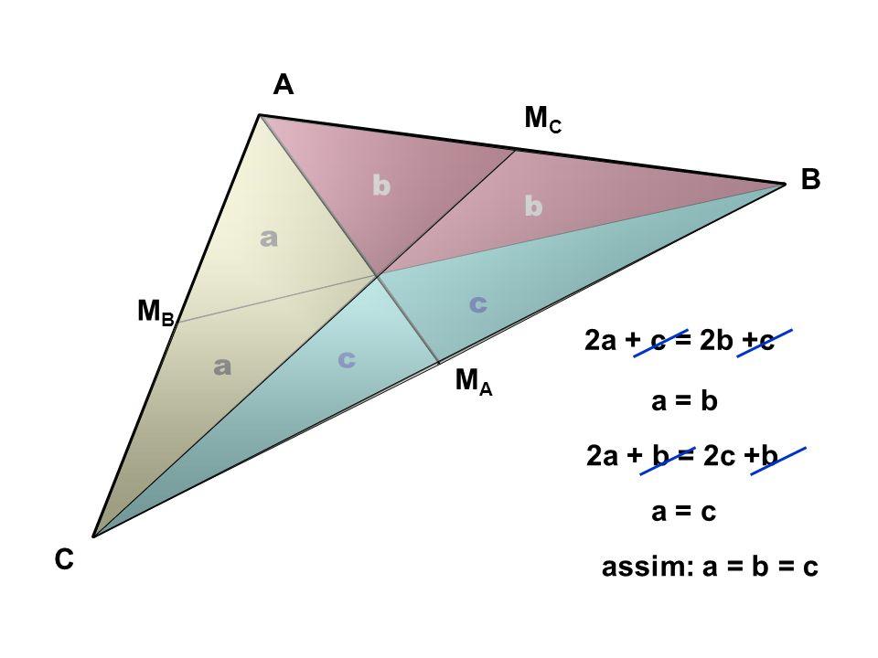 A B C MAMA MCMC MBMB S S S S S S G S ACG =2.S AGMc CG=2.GMc S BAG =2.S BGMa AG=2.GM a S BAG =2.S AGMb BG=2.GM b Propriedade do Baricentro de um triângulo Baricentro de ABC