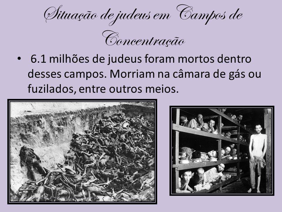 Situação de judeus em Campos de Concentração 6.1 milhões de judeus foram mortos dentro desses campos. Morriam na câmara de gás ou fuzilados, entre out