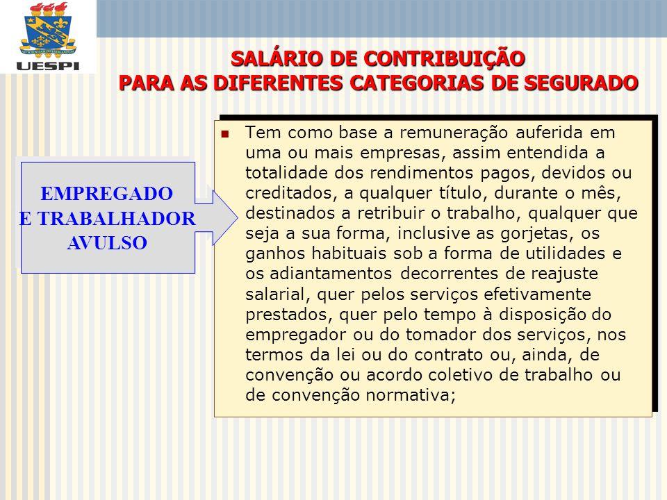 O salário de contribuição tem como base a remuneração registrada na Carteira Profissional e/ou Carteira de Trabalho e Previdência Social, observados os limites mínimo e máximo.